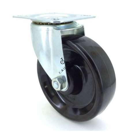 Castor wheel high temperatures 270° 125 mm diameter with swivel plate phenolic resin roller 1