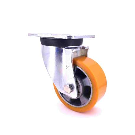 Swivel castor wheel polyurethane aluminium rim with brake 125 mm diameter load 450KG - S78AR 125