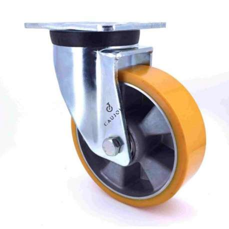Swivel castor wheel polyurethane aluminium rim 160 mm diameter load 500KG - S76AR 160