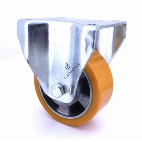 Fixed-position castor wheel polyurethane aluminium rim 125 mm diameter load 350KG - S77AR 125