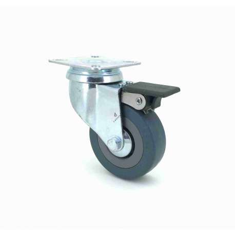 Castor wheel for industrial furniture 65 mm diameter with plate and brake 1