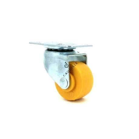 Furniture castor wheel 30 mm diameter roller wheel with plate orange polypropylene 1