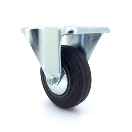 Industrial black rubber castor wheel 100 mm diameter with fixed plate 1