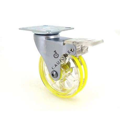 Transparent yellow designer castor wheel with brake 75 mm diameter swivel plate 1
