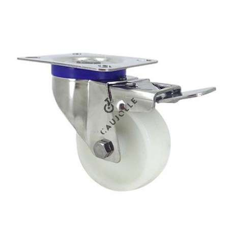 STAINLESS STEEL swivel castor wheel with brake 80 mm diameter nylon 1