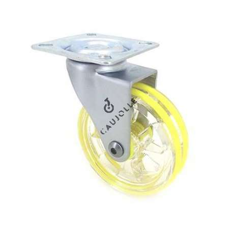 Transparent yellow designer castor wheel 75 mm diameter swivel plate 1