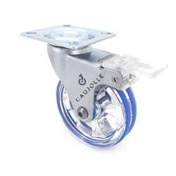 Transparent blue designer castor wheel with brake 75 mm diameter swivel plate 1