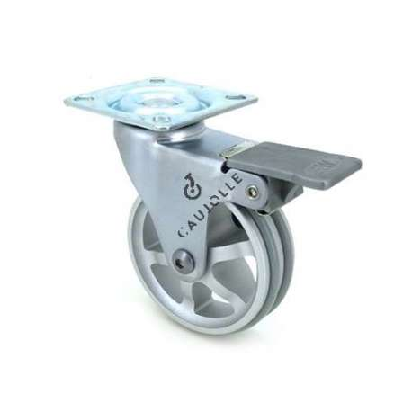 Designer die-cast aluminium castor wheel with brake 75 mm