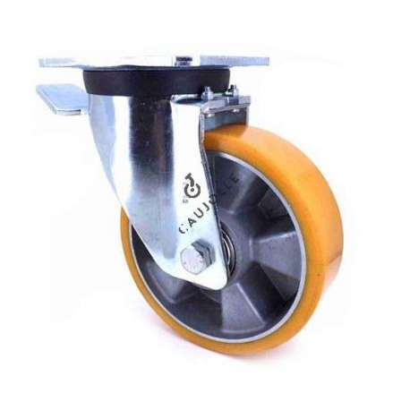 Swivel castor wheel polyurethane aluminium rim with brake 160 mm diameter load 600KG - S78AR 160AF