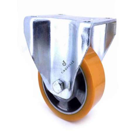 Fixed-position castor wheel polyurethane aluminium rim with brake 160 mm diameter load 600KG - S79AR 160
