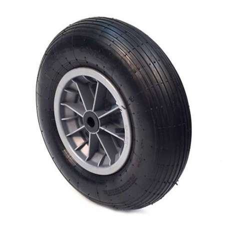 INFLATED WHEELBARROW WHEEL 400 MM DIAMETER 25 MM BORE WITHOUT ROLLER BEARINGS S1006PL25