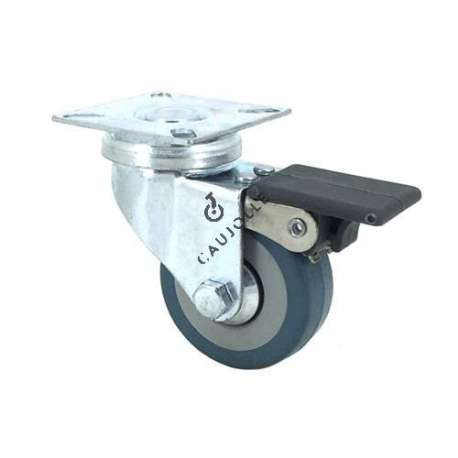 Castor wheel for industrial furniture 50 mm diameter with plate and brake 1