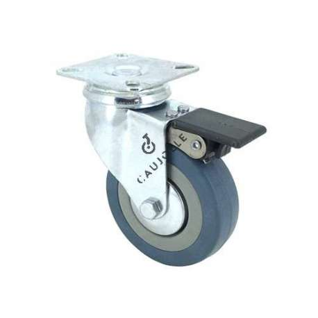 Castor wheel for industrial furniture 80 mm diameter with plate and brake 1