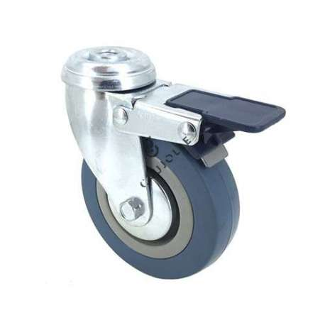 Castor wheel for industrial furniture 100 mm diameter with eye and brake 1