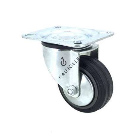 Industrial black rubber castor wheel 80 mm diameter with plate 1