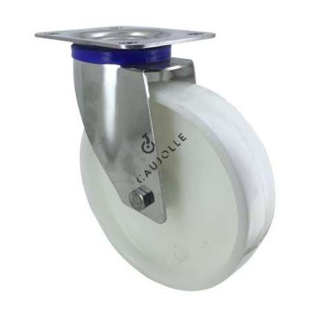 STAINLESS STEEL swivel castor wheel 200 mm diameter nylon 1