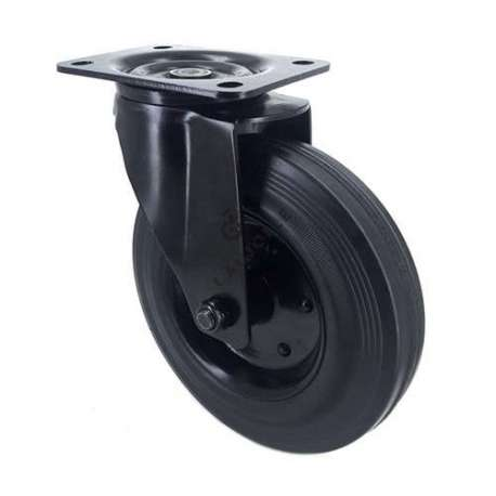 Black industrial castor wheel in rubber 200 mm with plate heavy load 1