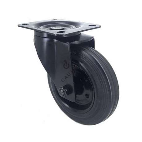 Black industrial castor wheel in rubber 160 mm with plate heavy load 1