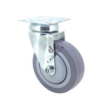 Industrial castor wheel with plate in non-marking rubber 100 mm diameter 1