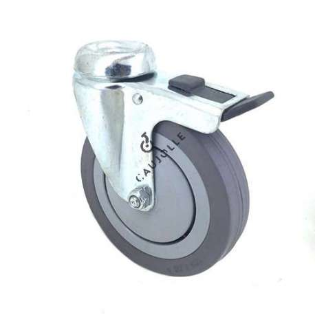 Industrial castor wheel with eye and brake in non-marking rubber 125 mm diameter 1