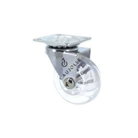 ROULETTE PIVOTANTE DESIGN TRANSPARENTE SOUPLE DIAMÈTRE 50MM S140