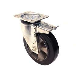 INDUSTRIAL USAGE CASTOR WHEEL REINFORCED RUBBER WITH BRAKE S76AS 200 MM DIAMETER