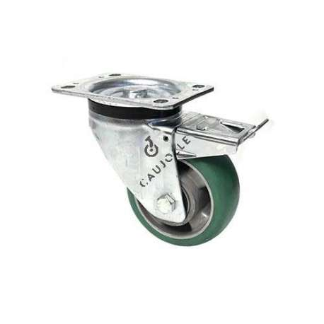 BRAKED SWIVEL CASTER EN FLEXIBLE POLYURETHANE DIAMETER 125 MM MAX LOAD 400 KG - S76V125AF