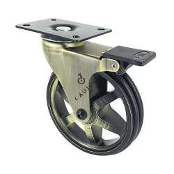Retro design castor wheel with brake GOLD'STYL 125PAF