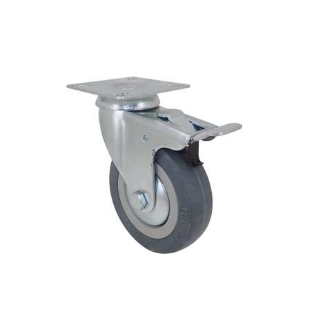 Community castor wheel in rubber with plate and brake 100 mm diameter S14 PAF
